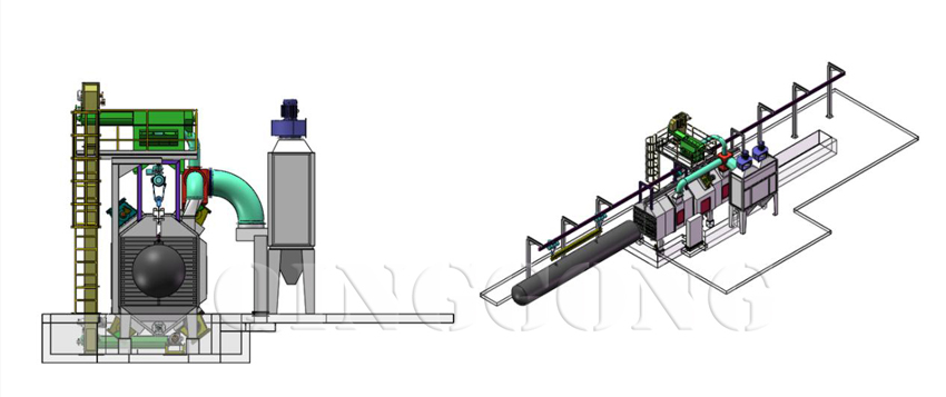 Tunnel type shot blasting machine 1