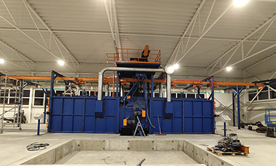 Continuous Overhead Rail Shot Blasting Machine for Spain Customer