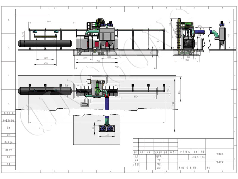 Tunnel Type Shot Blasting Machine CAD Drawing