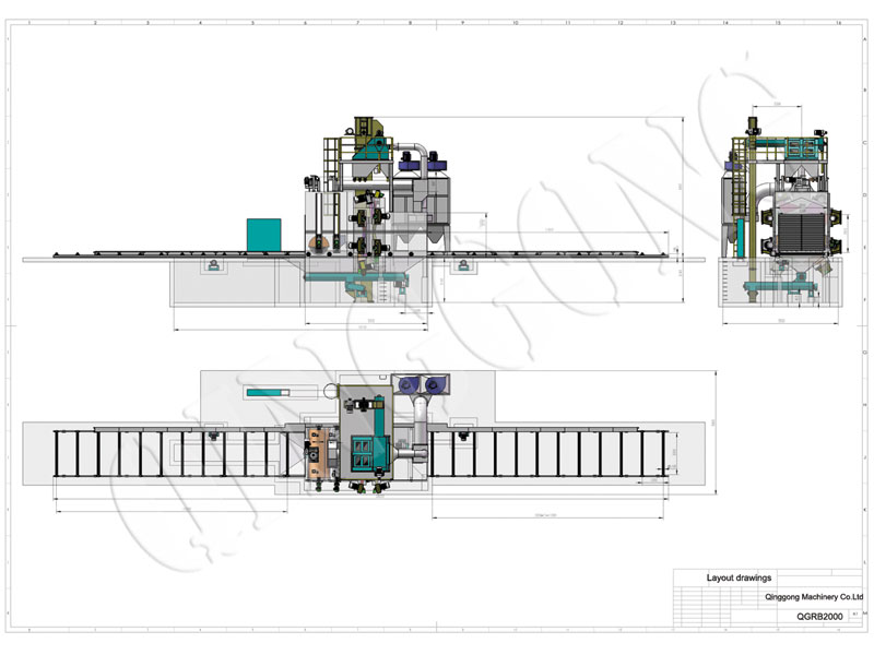 Roller conveyor type shot blasting machine CAD drawing