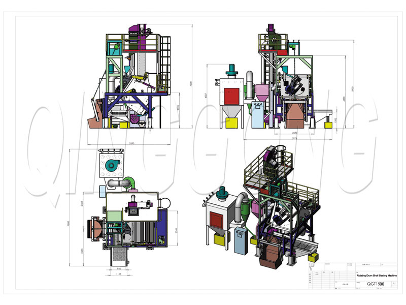 Barrel type shot blasting machine CAD drawing