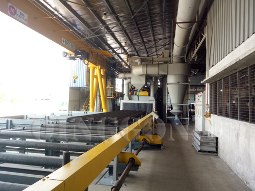 Steel structures preservation line shot blasting and painting line