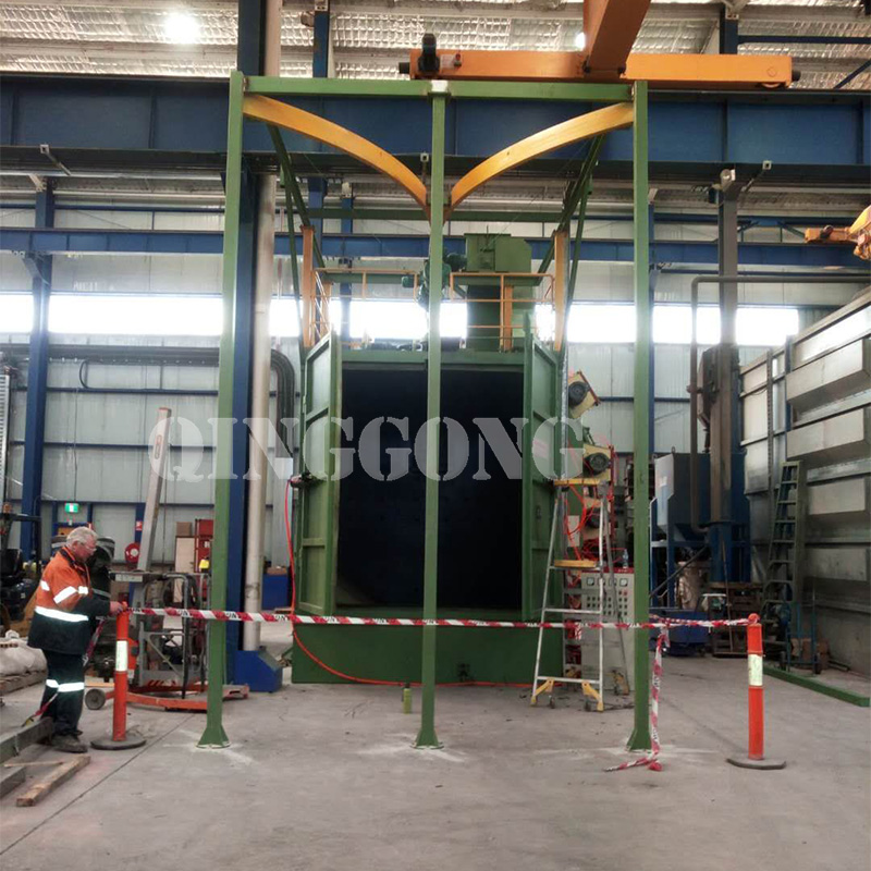 Hanger type shot blasting machine for motorcycle bumper 2