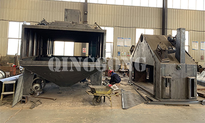 Machine tool bed roller conveyor shot blasting machine for Indonesia customers