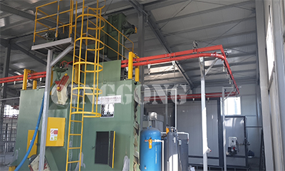 Hanger chain continuous shot blasting machine for Romania customer