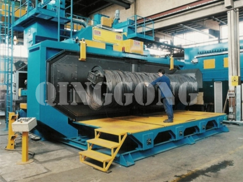 Wire rod coil shot blasting machine features